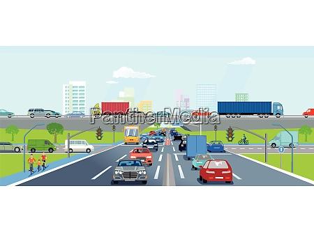 schnellstrassen mit strassenverkehr