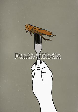 gabel piercing kakerlake