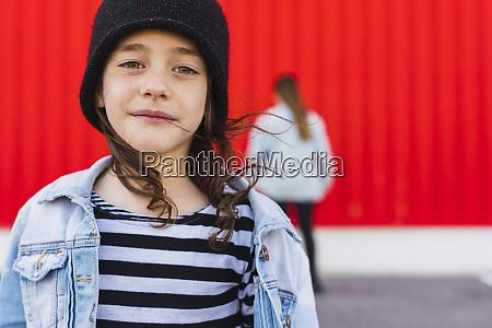 portrait of little girl wearing black