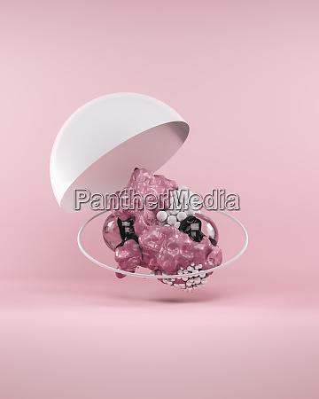 abstrakte blasen auf rosa hintergrund