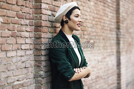fashionable young woman wearing a beret