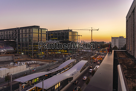 germany berlin central station at sunset
