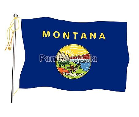 montana state weht flagge und fahnenmast
