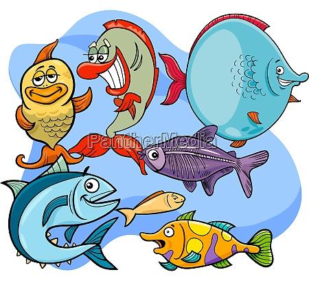 lustige fisch cartoon tier charaktere gruppe