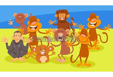 cartoon illustration von lustigen affen wilde