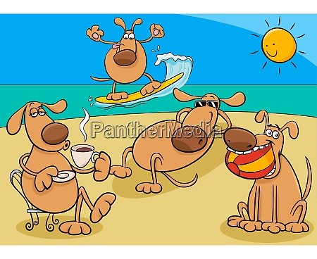 dogs group on holiday cartoon illustration