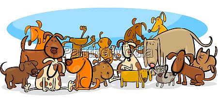 hunde charaktere grosse gruppe cartoon illustration