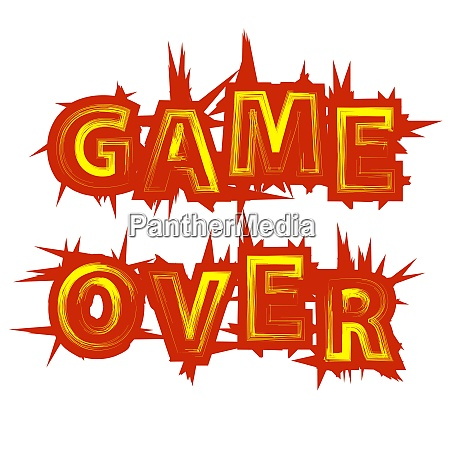 red yellow game over sign on