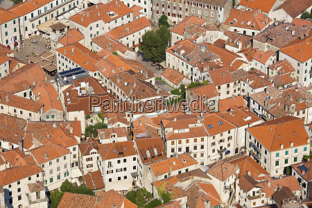 view over the tiled rooftops of