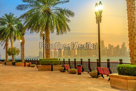 benches and palm trees along marina