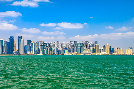 banner panorama of doha cityscape west