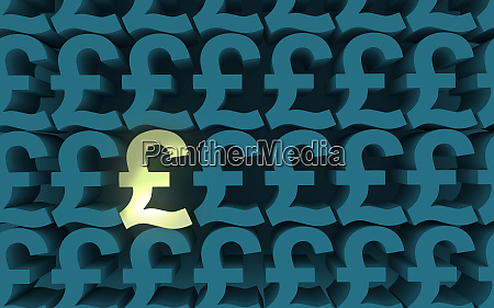 pound sterling symbols pattern top view