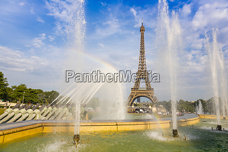 eiffel tower and trocadero fountains and