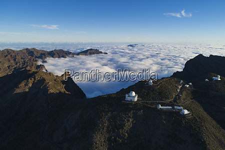 aerial view of telescope observatory near