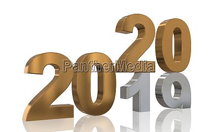 3d render 2020 zahl neues jahr