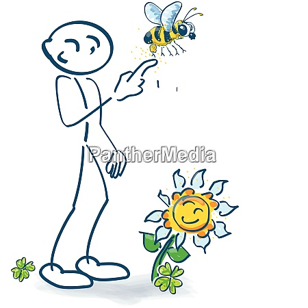 stick figure with a little bee