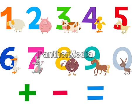 educational numbers set with farm animals