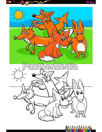 foxes animal characters group coloring book