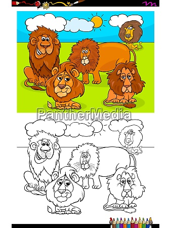 lions animal characters group color book