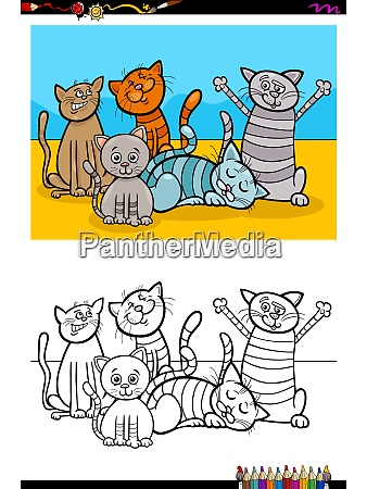 cats animal characters group coloring book