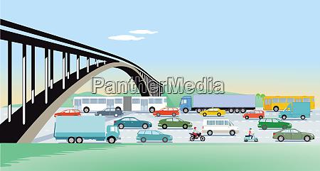 schnellstrassen mit bruecken und strassenverkehr