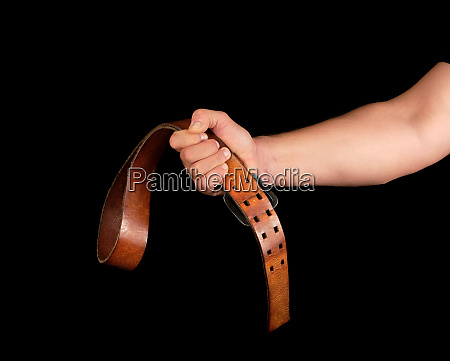 brown leather belt with an iron