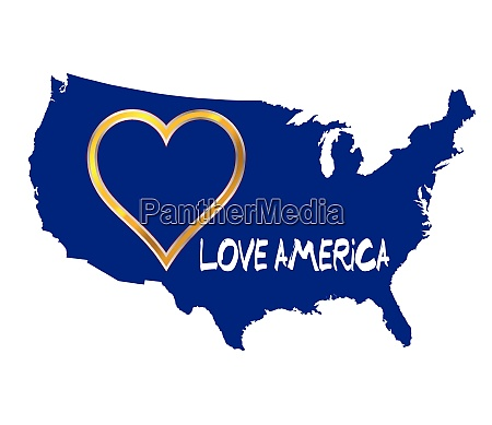 love america usa karte silhouette