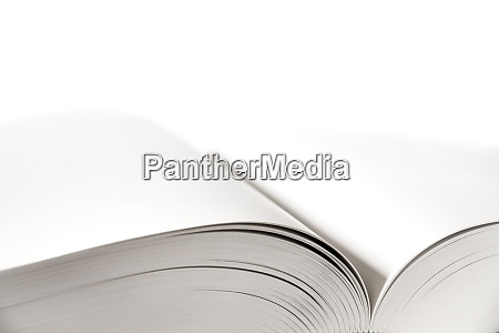open blank dictionary book on white