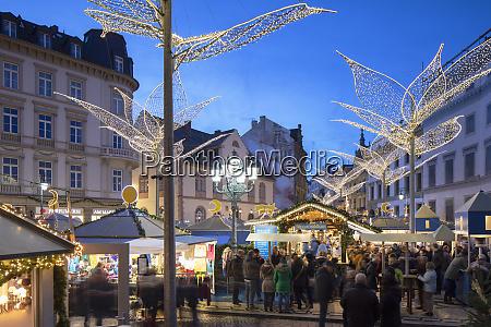 christmas market at dusk wiesbaden hesse