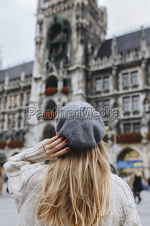 woman wearing beret by new town