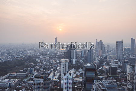 cityscape during sunset in bangkok thailand