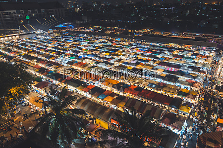high angle view of night market