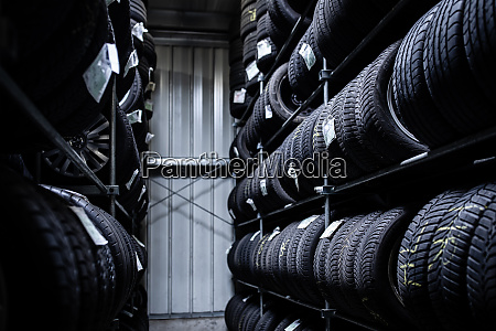 tyres being stored in a garage