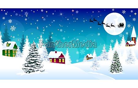 weihnachten winter dorf nacht schnee santa