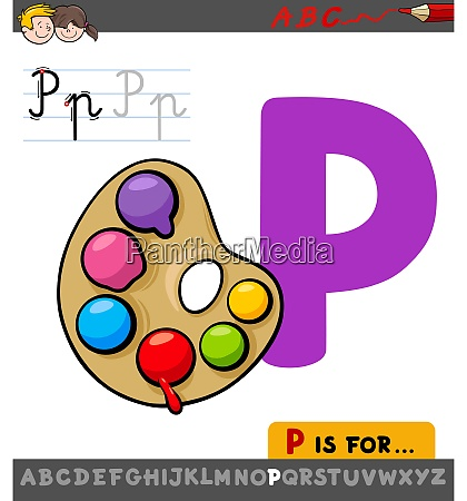 letter p worksheet with palette with