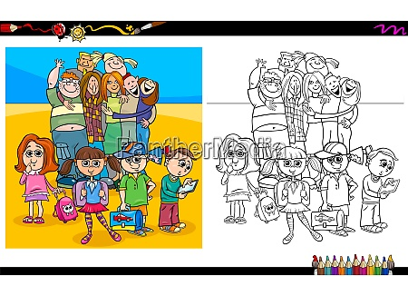 kids and teen characters coloring book
