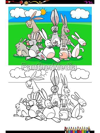 rabbits animal characters group coloring book