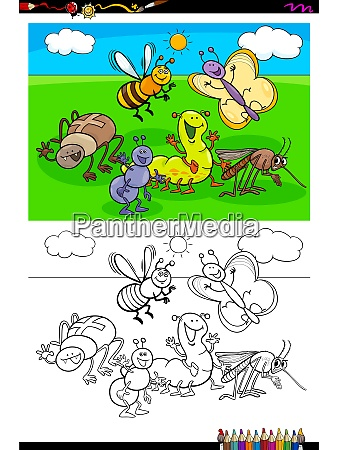 happy insects characters group color book
