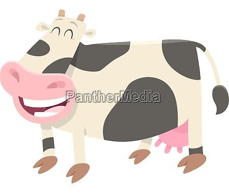 happy milk cow farm animal character