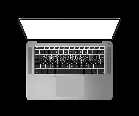 open laptop top view with blank