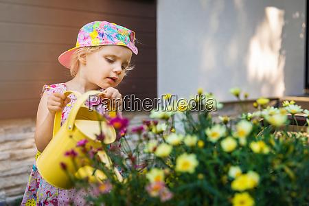 kleines maedchen waessert blumen mit gelben