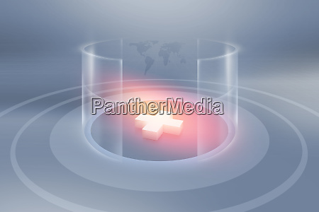 3d plus sign inside cylindrical transparent