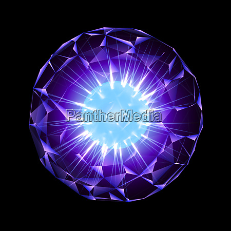 purple energy sphere with glowing blue