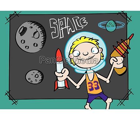 niedlichen weissen jungen spielen astronaut lustige