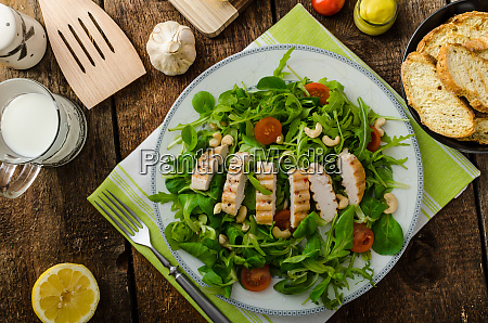 arugula and lambs lettuce with grilled
