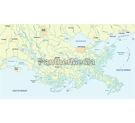 detaillierte karte des mississippi river delta