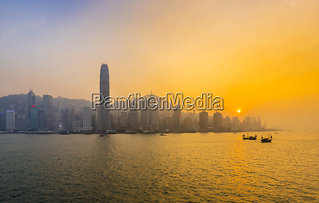 hong kong central skyline and victoria