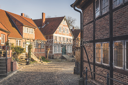 half timbered houses at an alley