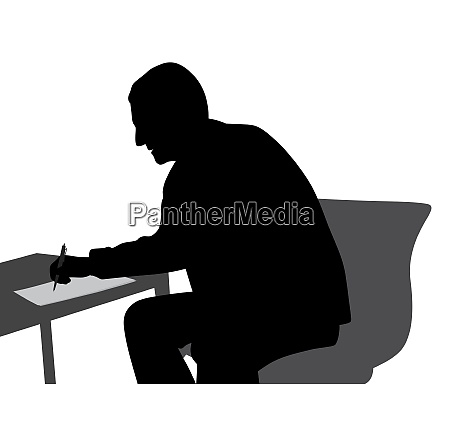 business man writing on paper at