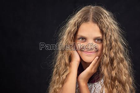 closeup portrait of a cheerful ten